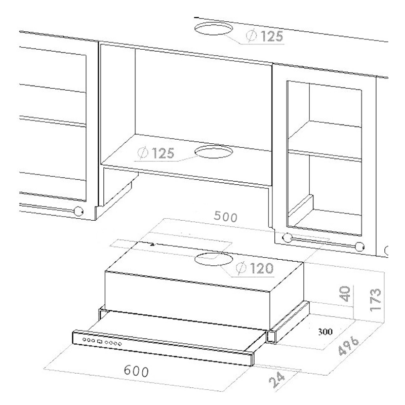 60 cm flachschirmhaube flachl fter dunstabzugshaube 800 m3. Black Bedroom Furniture Sets. Home Design Ideas
